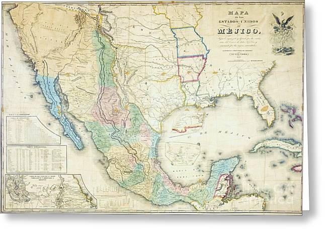 Conversations Mixed Media Greeting Cards - Map of Mexico - 1847 Greeting Card by Pg Reproductions