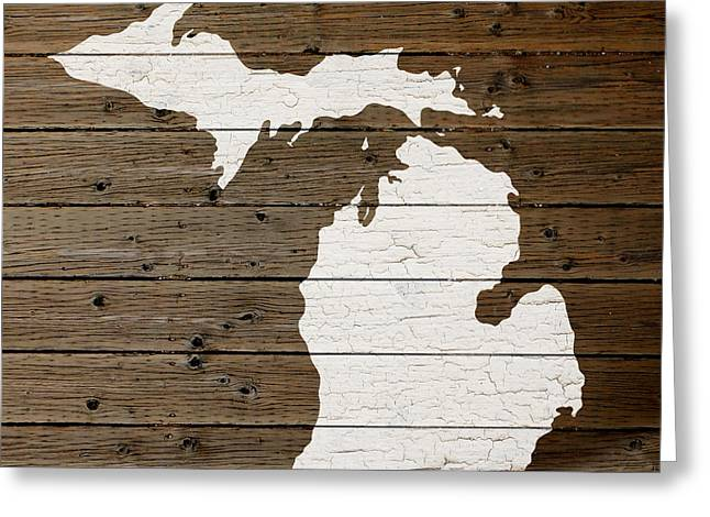 Plank Greeting Cards - Map of Michigan State Outline White Distressed Paint on Reclaimed Wood Planks Greeting Card by Design Turnpike