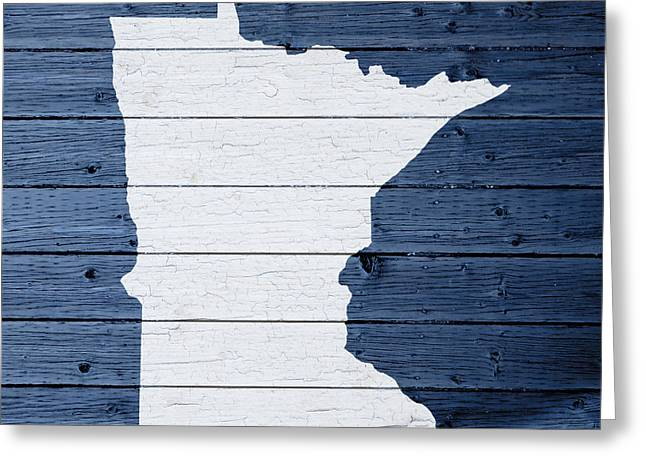 Minnesota Art Greeting Cards - Map Of Minnesota State Outline White Distressed Paint On Reclaimed Wood Planks Greeting Card by Design Turnpike