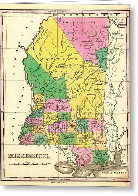 Old Country Roads Drawings Greeting Cards - Map of Mississippi 1827 Greeting Card by Mountain Dreams