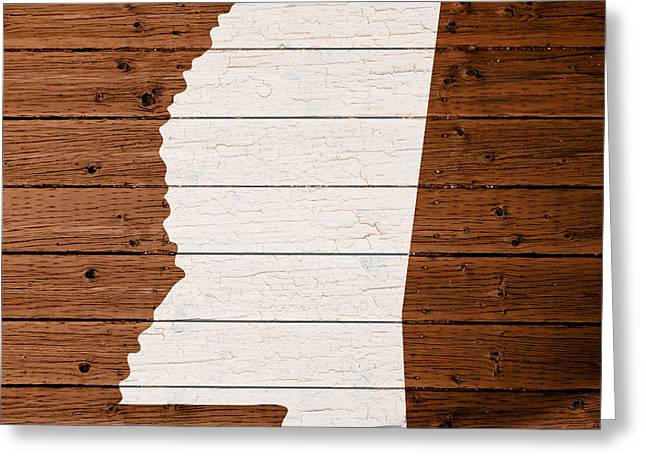 Mississippi Map Greeting Cards - Map Of Mississippi State Outline White Distressed Paint On Reclaimed Wood Planks. Greeting Card by Design Turnpike