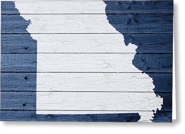 Missouri Mixed Media Greeting Cards - Map Of Missouri State Outline White Distressed Paint On Reclaimed Wood Planks Greeting Card by Design Turnpike