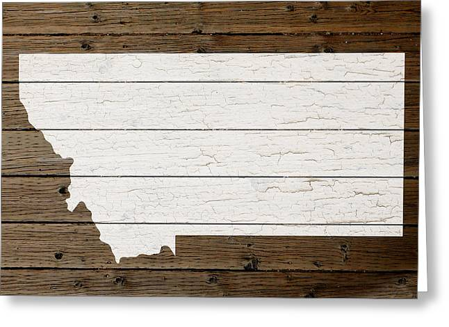 Montana State Map Greeting Cards - Map Of Montana State Outline White Distressed Paint On Reclaimed Wood Planks Greeting Card by Design Turnpike