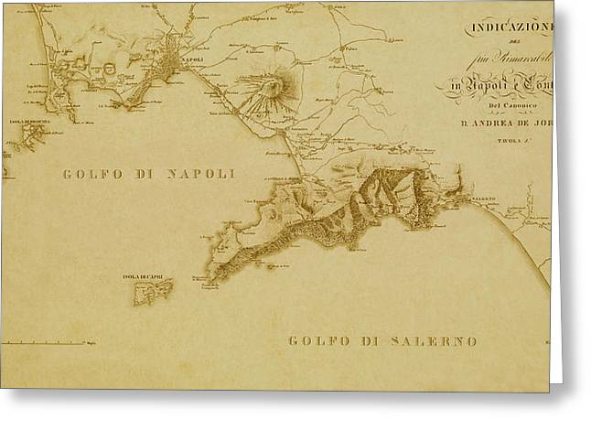 Map Of Naples 1819 Greeting Card by Andrew Fare