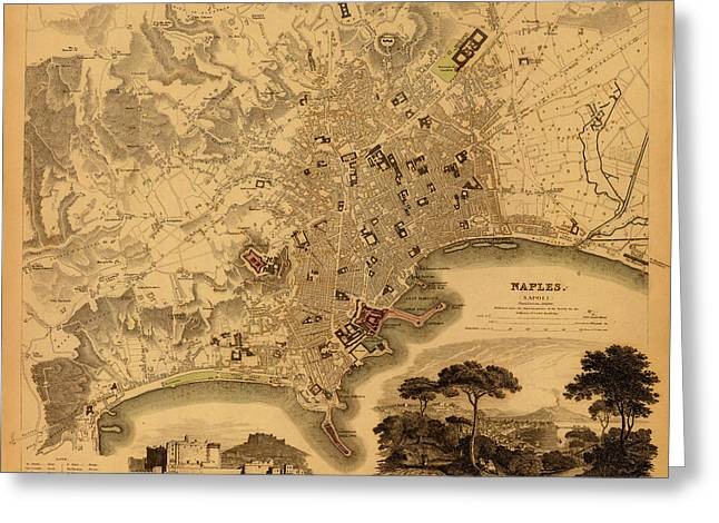 Naples Greeting Cards - Map of Naples 1835 Greeting Card by Andrew Fare