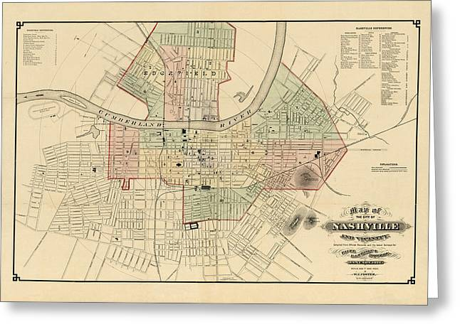 Nashville Greeting Cards - Map of Nashville 1877 Greeting Card by Andrew Fare