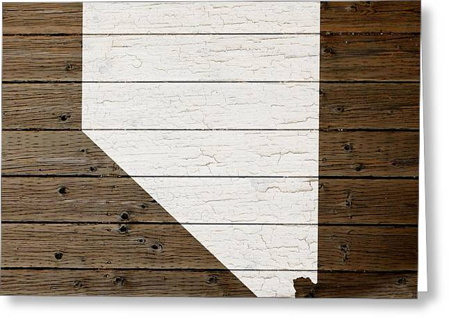 Las Vegas Art Greeting Cards - Map Of Nevada State Outline White Distressed Paint On Reclaimed Wood Planks Greeting Card by Design Turnpike