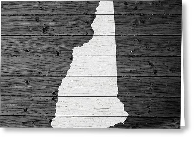 Concord Greeting Cards - Map Of New Hampshire State Outline White Distressed Paint On Reclaimed Wood Planks Greeting Card by Design Turnpike