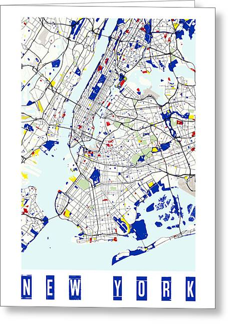 Geometric Style Greeting Cards - Map of New York in the style of Piet Mondrian  Greeting Card by Celestial Images
