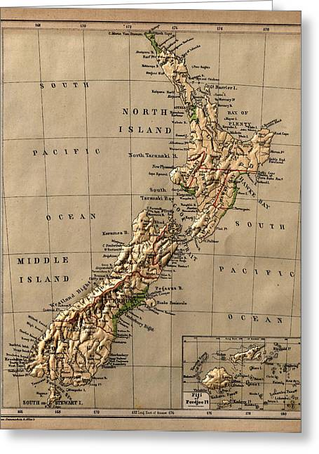 Vintage Map Photographs Greeting Cards - Map of New Zealand 1880 Greeting Card by Andrew Fare