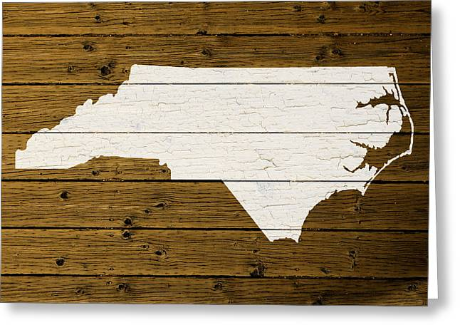 North Carolina Mixed Media Greeting Cards - Map Of North Carolina State Outline White Distressed Paint On Reclaimed Wood Planks. Greeting Card by Design Turnpike