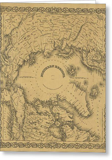 Northern Canada Greeting Cards - Map of North Pole 1855 Greeting Card by Andrew Fare
