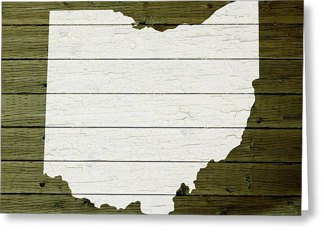 Painted Wood Mixed Media Greeting Cards - Map Of Ohio State Outline White Distressed Paint On Reclaimed Wood Planks Greeting Card by Design Turnpike