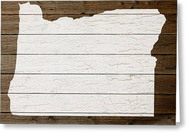 Oregon State Greeting Cards - Map Of Oregon State Outline White Distressed Paint On Reclaimed Wood Planks Greeting Card by Design Turnpike