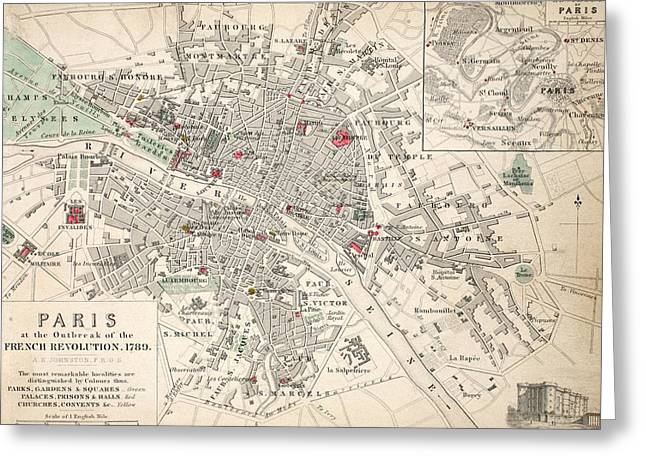 France Map Greeting Cards - Map of Paris at the outbreak of the French Revolution Greeting Card by French School