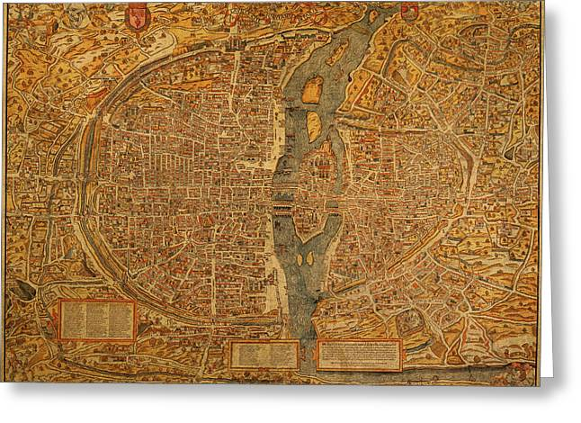 France Map Greeting Cards - Map of Paris France Circa 1550 on Worn Canvas Greeting Card by Design Turnpike