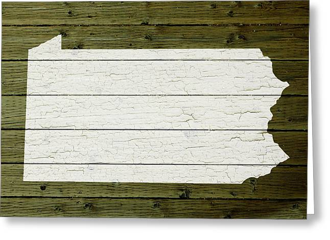 Painted Wood Mixed Media Greeting Cards - Map Of Pennsylvania State Outline White Distressed Paint On Reclaimed Wood Planks Greeting Card by Design Turnpike
