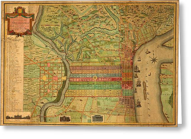 Philadelphia Greeting Cards - Map of Philadelphia 1802 Greeting Card by Andrew Fare
