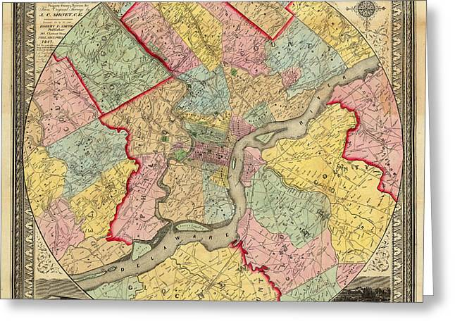 Philadelphia Greeting Cards - Map of Philadelphia 1849 Greeting Card by Andrew Fare