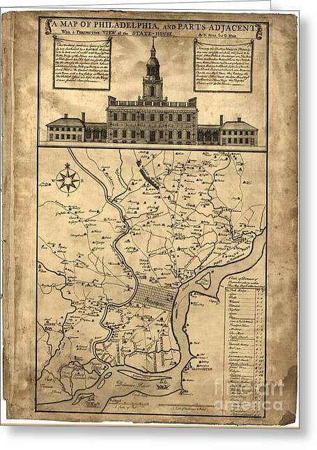 Philadelphia History Drawings Greeting Cards - map of Philadelphia and parts adjacent - 1752 Greeting Card by Pablo Romero