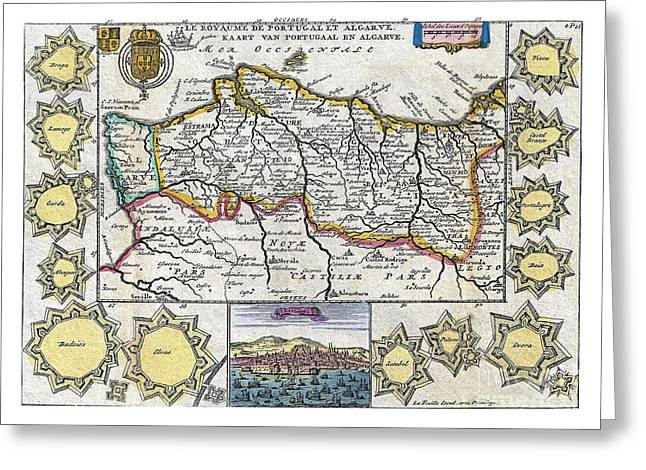 Vintage Map Paintings Greeting Cards - Map of Portugal - 1747 Greeting Card by Pablo Romero