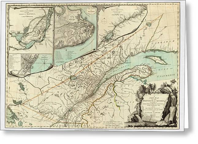 Map Of Canada Greeting Cards - Map of Quebec 1776 Greeting Card by Andrew Fare