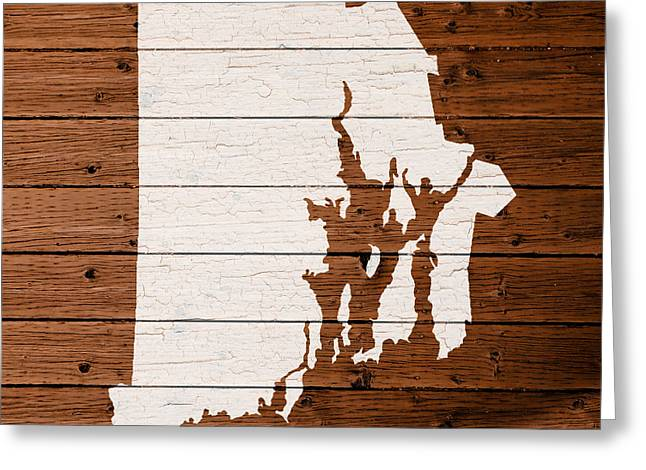 Rhode Island State Map Greeting Cards - Map Of Rhode Island State Outline White Distressed Paint On Reclaimed Wood Planks. Greeting Card by Design Turnpike