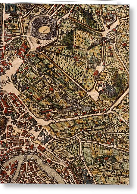 Border Drawings Greeting Cards - Map of Rome Greeting Card by Joan Blaeu