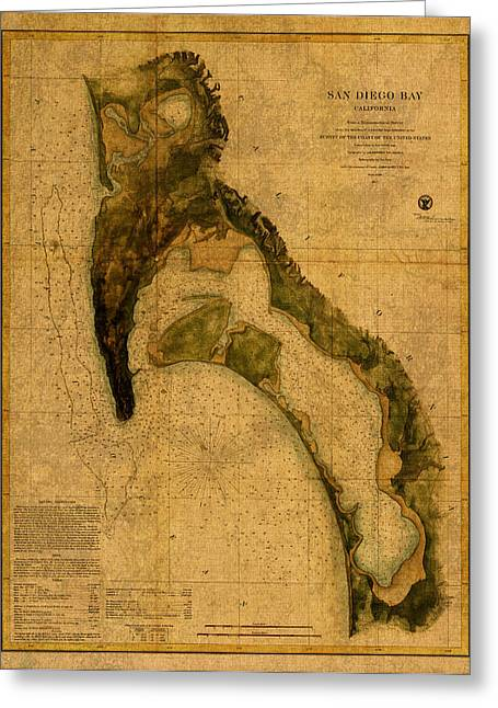 Old Map Mixed Media Greeting Cards - Map of San Diego Bay California Circa 1857 on Worn Distressed Canvas Parchment Greeting Card by Design Turnpike