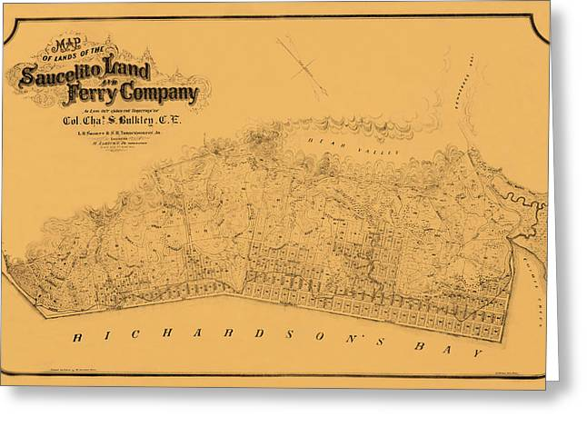 Sausalito Greeting Cards - Map of Sausalito 1868 Greeting Card by Andrew Fare