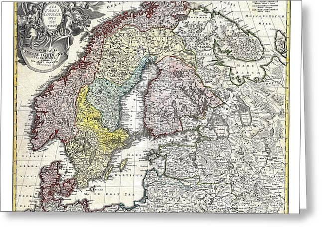 Vintage Map Paintings Greeting Cards - Map of Scandinavia Norway Sweden Denmark Finland and the Baltics by Homann - 1730 Greeting Card by Pablo Romero