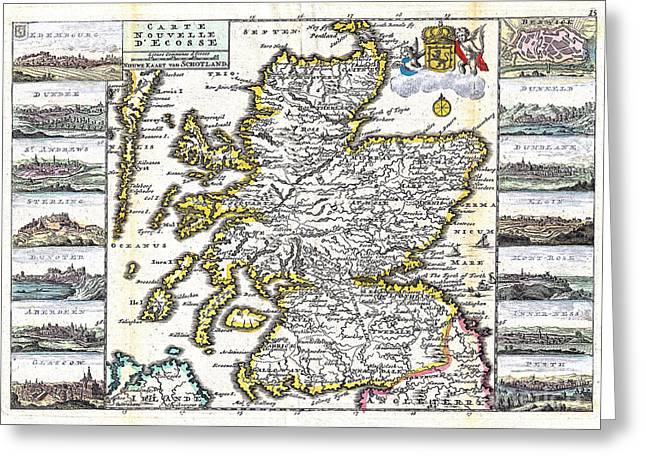 Vintage Map Paintings Greeting Cards - Map of Scotland by La Feuille - 1747 Greeting Card by Pablo Romero