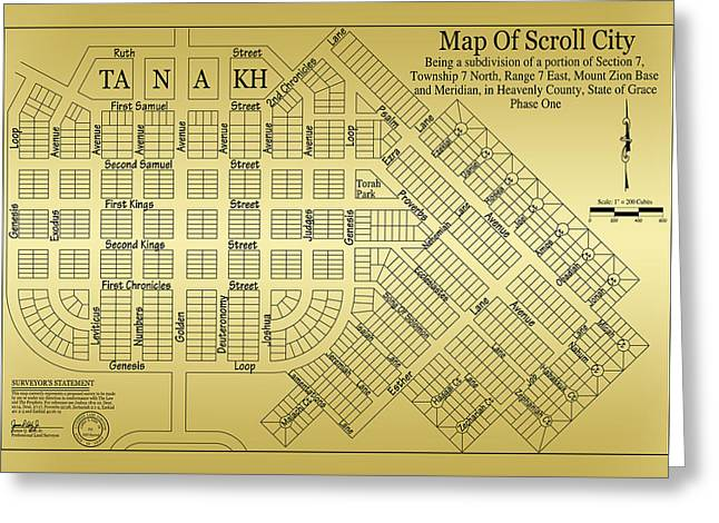 Isaiah Drawings Greeting Cards - Map Of Scroll City Greeting Card by James Eddy