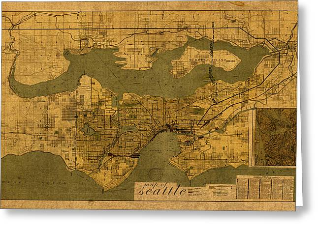 Old Map Mixed Media Greeting Cards - Map of Seattle Washington Vintage Old Street Cartography on Worn Distressed Parchment Greeting Card by Design Turnpike