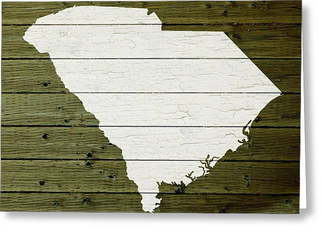 Painted Wood Mixed Media Greeting Cards - Map Of South Carolina State Outline White Distressed Paint On Reclaimed Wood Planks Greeting Card by Design Turnpike