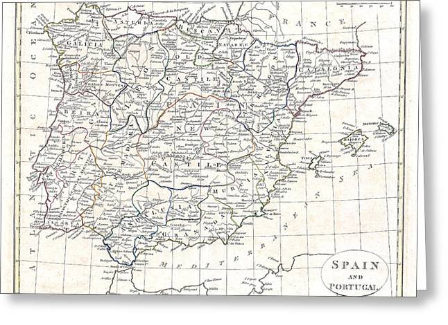 Vintage Map Paintings Greeting Cards - Map of Spain and Portugal - 1799 Greeting Card by Pablo Romero