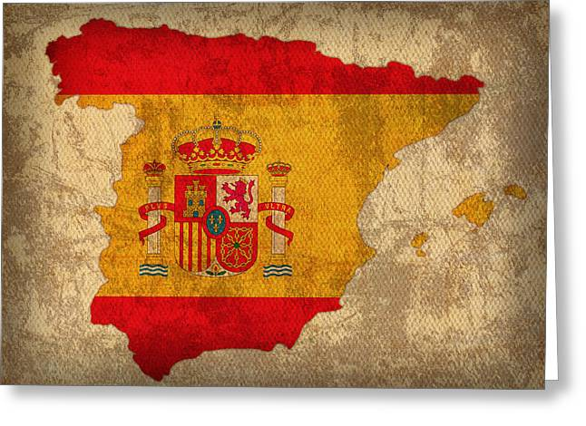 Map Mixed Media Greeting Cards - Map of Spain With Flag Art on Distressed Worn Canvas Greeting Card by Design Turnpike