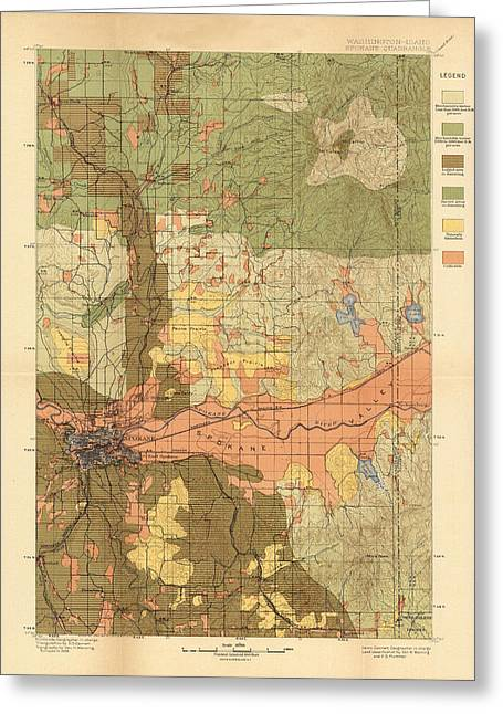 Spokane Greeting Cards - Map of Spokane 1898 Greeting Card by Andrew Fare