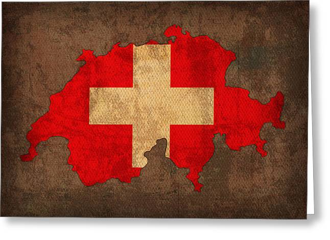 Flags Greeting Cards - Map of Switzerland With Flag Art on Distressed Worn Canvas Greeting Card by Design Turnpike