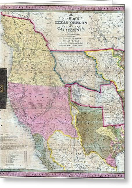 Public Issue Greeting Cards - Map of Texas Oregon and California Greeting Card by Paul Fearn
