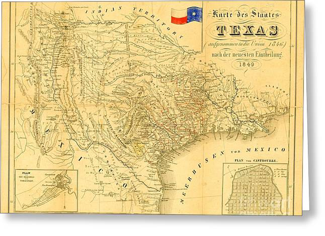 Universities Drawings Greeting Cards - Map of Texas  Greeting Card by Pg Reproductions