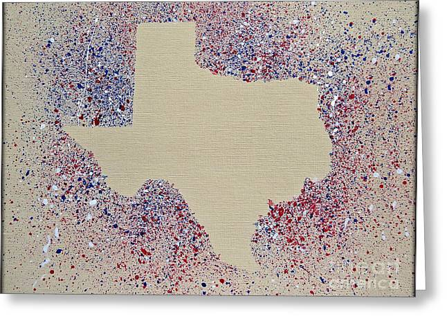 Photos With Red Digital Greeting Cards - Map of Texas - Red White Blue Splatter Painting Greeting Card by Ella Kaye Dickey
