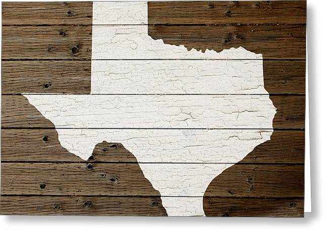 Painted Wood Mixed Media Greeting Cards - Map of Texas State Outline White Distressed Paint on Reclaimed Wood Planks Greeting Card by Design Turnpike