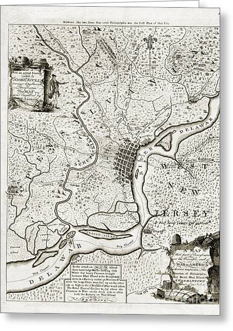 Philadelphia History Drawings Greeting Cards - Map of that part of Pensylvania - 1777 Greeting Card by Pablo Romero