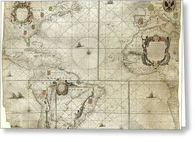 Map Of The Atlantic Coasts Greeting Card by Library Of Congress, Geography And Map Division