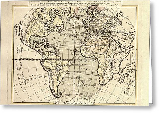 Map Of The Atlantic Ocean Greeting Card by Library Of Congress, Geography And Map Division