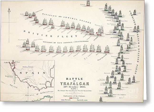 Battle Ship Greeting Cards - Map of the Battle of Trafalgar Greeting Card by Alexander Keith Johnson