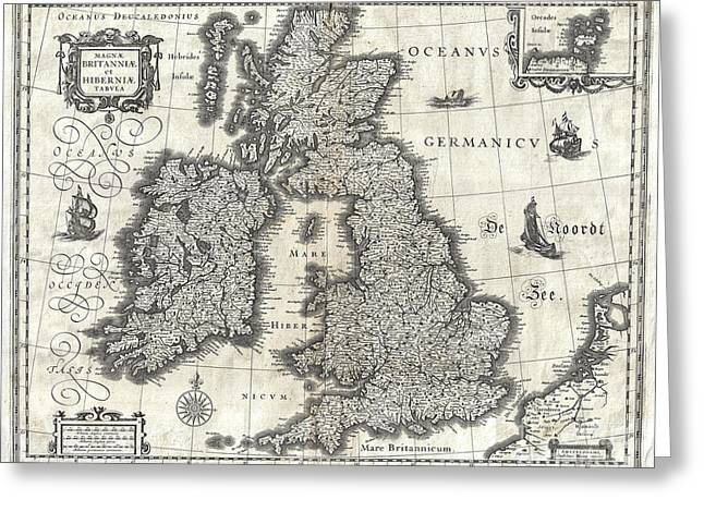 Historic England Drawings Greeting Cards - Map of the British Isles - 1631 Greeting Card by Pablo Romero