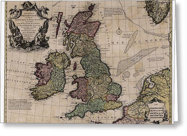 Map Of The British Isles Greeting Card by Library Of Congress, Geography And Map Division