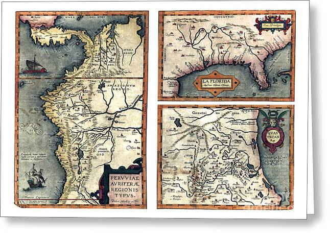 Vintage Map Paintings Greeting Cards - Map of the Gold-Producing Region of Peru. Florida. The Guastecan Region by Ortelius - 1584 Greeting Card by Pablo Romero